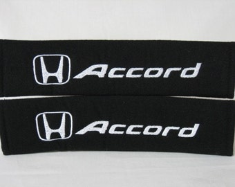 1 PAIR (2 pieces) Honda Accord Embroidery Seat Belt Cover Cushion Shoulder Harness Pad