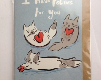 Felines For You Greetings card- Valentines card- Anniversary card- Love