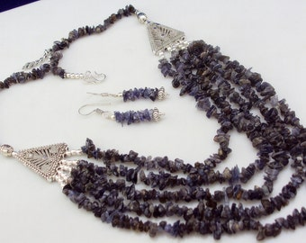 free shipping f-25  stunning  IOLITE   uncut  .925  silver  handmade beaded necklace 73 gram