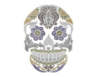 Sugar Skull Machine Embroidery Design  Instant Download Calavera