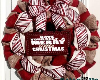 Burlap Wreath - Candy Cane Wreath - Christmas Wreath -  Red and Natural Wreath - Holiday burlap Wreath - Christmas wreath - Christmas Decor