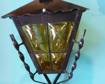 Wrought Iron and Amber Glass Lantern Hanging Lamp Made in Mexico For Outdoor Use