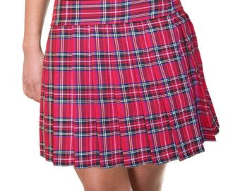 Longer Red, Tartan, Stewart, School Girl Skirts (Plus Sizes Only OPENS / CLOSES with hook and loop fasteners strip)