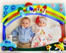 Twins picture frame. Boy Girl Twins gift. Fused glass photo frame. Picture frames.