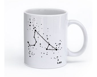 Leo Constellations Mug, Zodiac Cup, Aquarius Coffee Mug, Horoscope Design