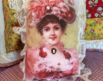 The Lady in Pink Decorative Cushion - Handmade by The Clever Cottage