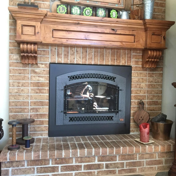 Fireplace Mantel Corbels Knotty Alder Distressed Glazed