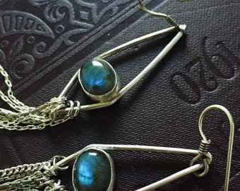 Labradorite and silver geometric chain earrings
