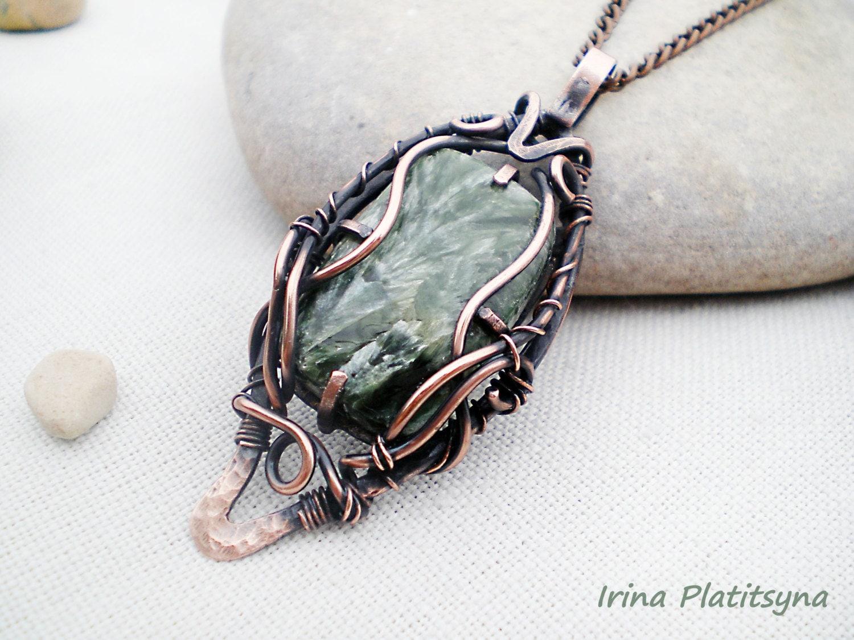 forest moss 陝opper pendant wire jewelry gemstone