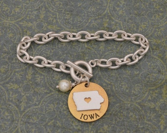 Iowa Love Toggle Bracelet with Pearl Accent - 22496