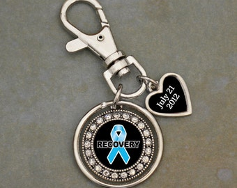 Custom Sobriety Date Narcotics Recovery Keychain