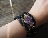 Amethyst Druzy Chain Bracelet Silk Raw Gemstone Bracelet Rough Stone Bracelet