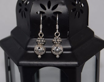 Bali Bead Earrings Sterling Silver