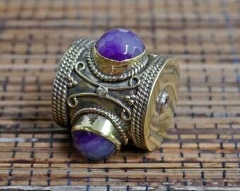 Tibetan Amethyst Brass Focal Bead