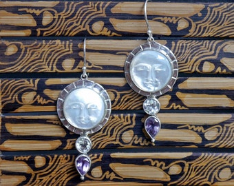 Vintage Balinese Mother of Pearl Sun Face Earrings