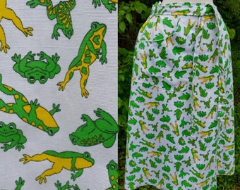 60s Frog Skirt White And Green Novelty Print with pockets S/M