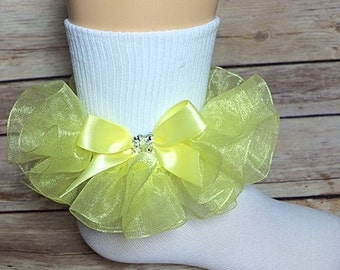 Yellow Organza Ruffle Socks