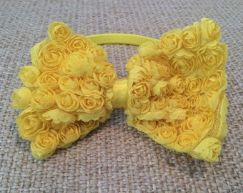 Yellow Chiffon Rosette Hair Bow Clip attached to Yellow Elastic Headband Stretchy Headband