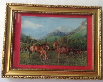 Horses and Mountains Vintage Stereo Postcard