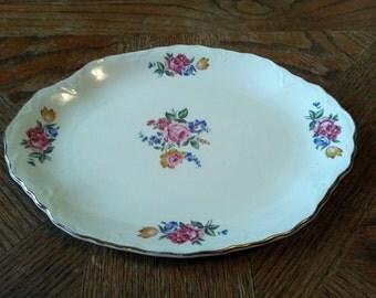 Vintage Porcelain Bouquet Medium Sized Platter - Made in USA