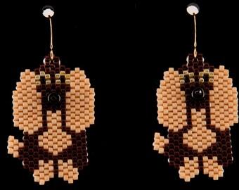 Brown Floppy Earred Dog Earrings