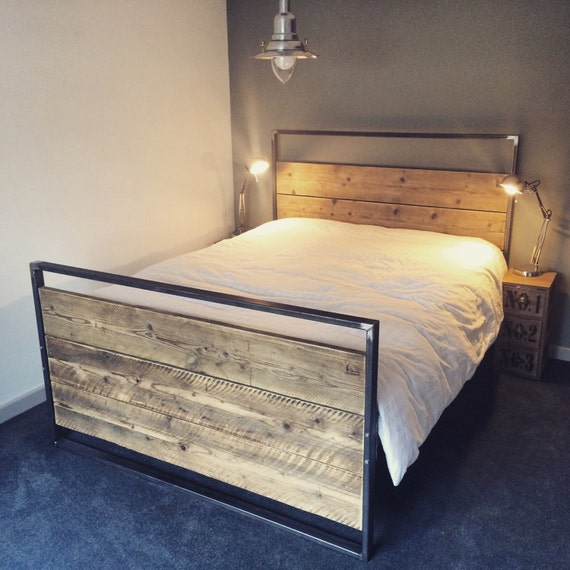Reclaimed Industrial Chic Hand Made King Size Bed Furniture