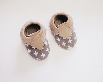 Baby Moccasins- Grey Plus Sign Print & Taupe Leather