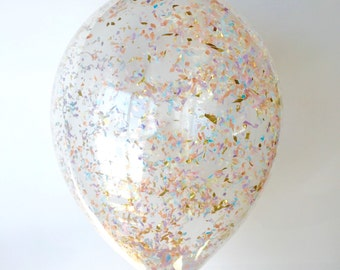 Confetti Balloons | Pastel + Gold confetti filled balloons | Set of 3 | FREE SHIPPING