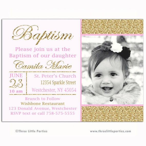 Pink Gold Sparkle First Communion Invitation Baptism