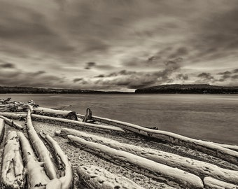 Beach Photography, Driftwood, Snow, Puget Sound, Tacoma, Point Defiance, Winter, Fine Art Black and White Photography, Wall Art, Wall Decor