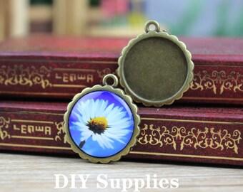 5pcs  Antique Bronze Cameo Pendant Necklace -  DiY Pendant Necklace Base - 20mm Setting  Blanks