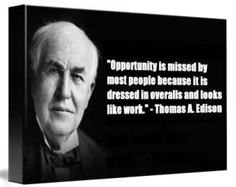 Thomas Edison Quote Canvas Decor, Canvas Wall Art, Huge Print A1