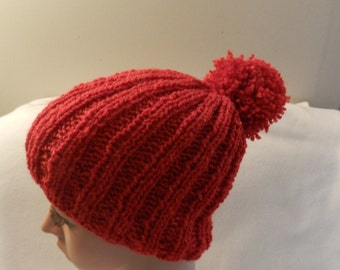 Hand Kintted Red  Holiday Warm Beanie Ribbed Hat V14