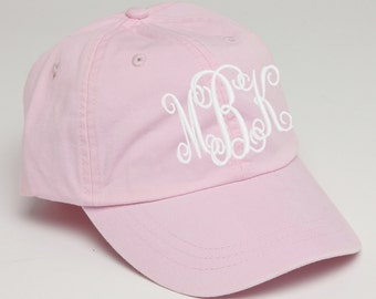 Pink Monogrammed Baseball Cap for Ladies-Hat with Interlocking Script Monogram-Custom Embroidery, Personalized Baseball Hat, Baseball Cap
