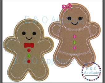 Gingerbread Embroidery Design - Gingerbread Boy & Girl Applique Set - Gingerbread Applique - Christmas Applique - Gingerbread Embroidery