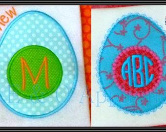 SET - Easter Egg Applique Design - Easter Applique - Monogram Easter Egg Applique