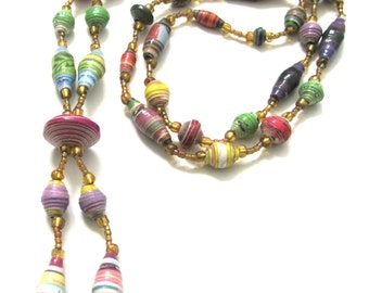 Paper beads necklace-Handmade paper beads-Recycled paper beads-Eco friendly-Long necklace-Handmade jewelry-Recycled jewelry-Greek jewelry