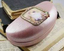pink hard eyeglasses case hard eyeglasses holder sun glasses case reeding glasses case eyeglasses wear vintage style gifts gift for her