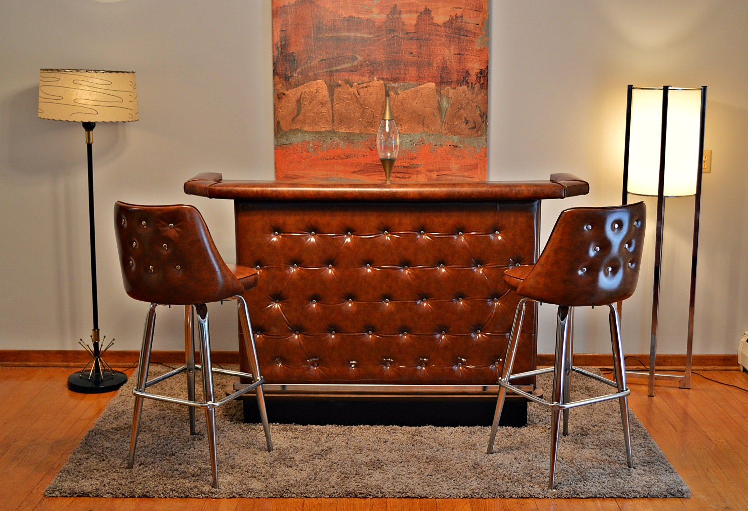 Mid Century Retro Tufted Home Cocktail Bar And 2 Matching
