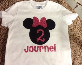 Little Girl's Minnie Mouse Birthday Tshirt!