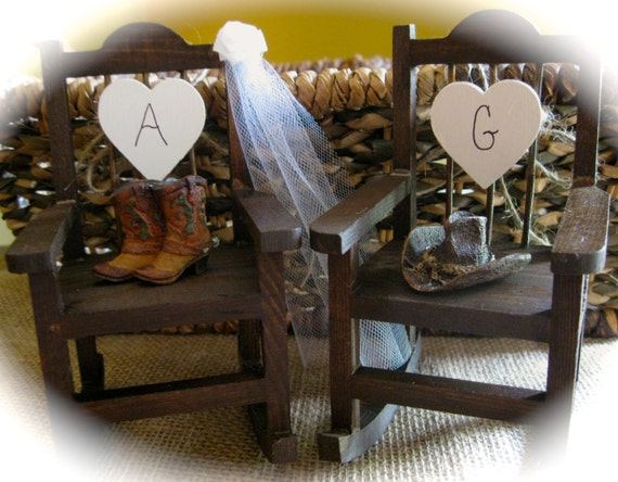 Country Western Themed Wedding Rocking Chair Cake Topper w/Boots & Hat