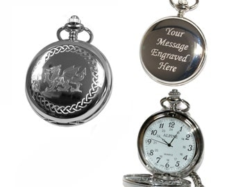 Welsh Dragon Pocket Watch with 1 - 12 numerals personalised men's gift for weddings, birthdays or anniversaries