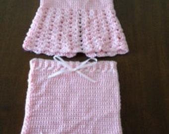 Baby girl 2 piece skirt set, hand crocheted, 9-12 months