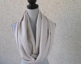 Fabric scarf, Infinity scarf, tube scarf, eternity scarf, loop scarf, checked scarf, Unisex scarf, beige scarf, neutral scarf, classic scarf