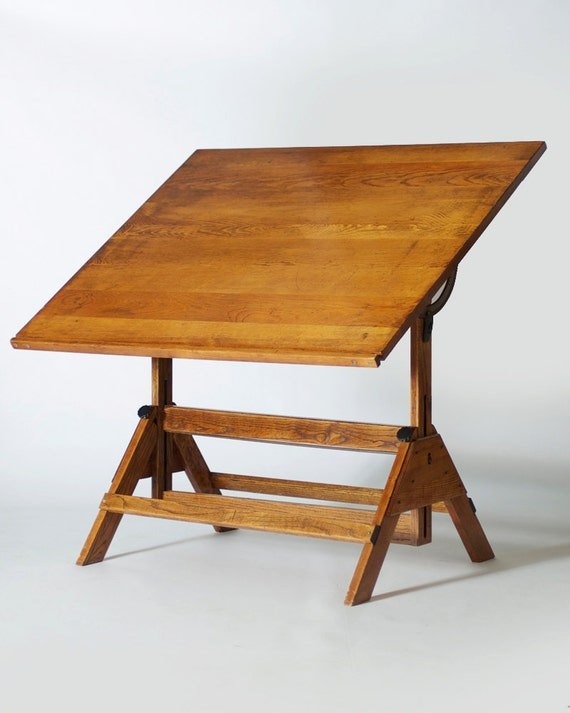 Large Oak Vintage Drafting Table By Fluxindy On Etsy