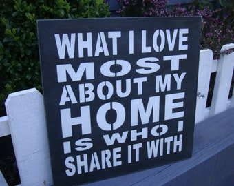 Large wooden Plaque Shabby Chic in Annie Sloan paints...'What I love about my home is who I share it with.'