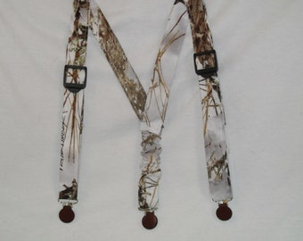 Camo Kids Suspenders.Made with White Snow TrueTimber Camo.Great for Weddings,Easter or anytime.Choose size from the select options below.