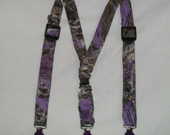 Camo Kids Suspenders.Made with #18 Purple True Timber Camo satin. 22 camo colors. Great for Weddings