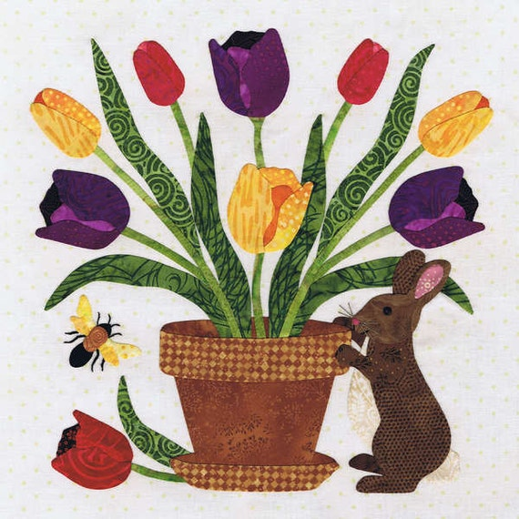 Quilt Pattern, Baltimore Spring Block 10, Rabbits Bouquet, Pearl Pereira, Applique Pattern Only, No Fabric
