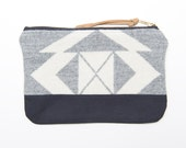 SALE Grey and White Patterned Wool Zipper Pouch with Metal Zipper and Black Lining